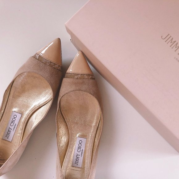 Jimmy Choo Suede and Lace Flat
